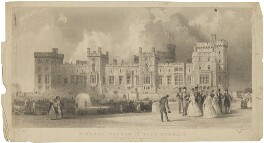 'Windsor Castle, East Terrace' (including Queen Victoria; Prince Albert of Saxe-Coburg-Gotha), by Thomas Abiel Prior, published by  J. & W. Robins, after  Thomas Allom - NPG D33636