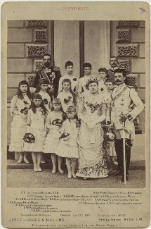 Prince and Princess Henry of Battenberg with their bridesmaids and others on their wedding day, by Hughes & Mullins, 23 July 1885 - NPG x33000 - © National Portrait Gallery, London