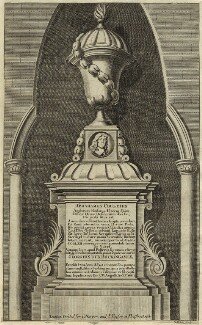 Monument to Abraham Cowley in Westminster Abbey, by Robert White, printed for  Charles Harper, and printed for  Jacob Tonson I - NPG D33715