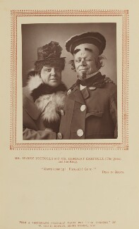 Harry Nicholls as the Queen; Herbert Campbell as the King in 'Puss in Boots', by W. & D. Downey, published by  Strand Publishing Company, published 1 February 1888 - NPG Ax9310 - © National Portrait Gallery, London