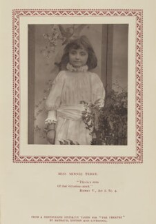 Minnie Terry, by Herbert Rose Barraud, published by  Eglington & Co, published 1 November 1889 - NPG Ax9355 - © National Portrait Gallery, London