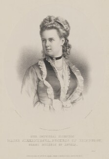 Marie Alexandrovna, Duchess of Edinburgh, by T. Rimanoczy, printed by  M & N Hanhart, published by  John Mitchell, after  Charles Bergamasco - NPG D33783