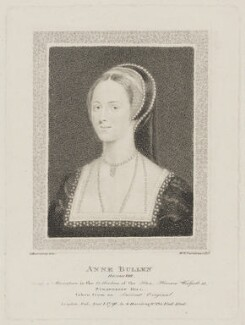 Anne Boleyn, by William Nelson Gardiner, published by  Edward Harding, after  Silvester (Sylvester) Harding, after  Unknown artist - NPG D33817