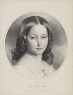 Princess Alice, Grand Duchess of Hesse, by Thomas Fairland, printed by  M & N Hanhart, after  Franz Xaver Winterhalter - NPG D33820
