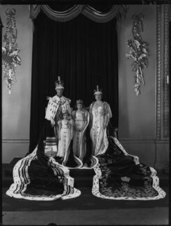 King George VI; Princess Margaret; Queen Elizabeth II; Queen Elizabeth, the Queen Mother, by Hay Wrightson - NPG x32325