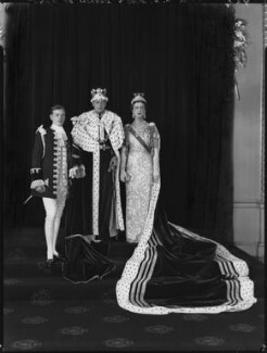 Prince George, Duke of Kent; Princess Marina, Duchess of Kent with a page boy, by Hay Wrightson - NPG x132141