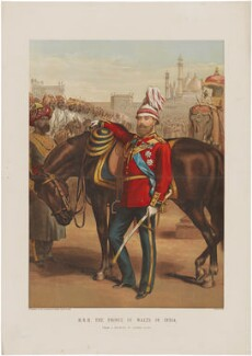 'HRH The Prince of Wales in India' (King Edward VII and unknown sitters), after Alfred William Hunt - NPG D33843