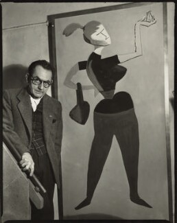 Man Ray with his painting 'Mademoiselle H', by Ida Kar, 30 March 1954 - NPG  - © National Portrait Gallery, London