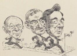 Sir John Tusa; John Birt, Baron Birt; Sir Michael Checkland ('The Race for the Director-Generalship of the BBC'), by David Smith, 1992 - NPG 6853 - © David E Smith / National Portrait Gallery, London