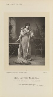Mrs Patrick Campbell as Clarice Berton in 'The Black Domino', by Alfred Ellis, published by  Eglington & Co, published 1 June 1893 - NPG Ax28856 - © National Portrait Gallery, London
