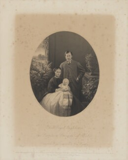 Queen Alexandra; Prince Albert Victor, Duke of Clarence and Avondale; King Edward VII, by William Holl Jr, after  Vernon Heath - NPG D33935