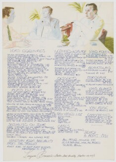Illustrated Menu from Langans Brasserie (Peter Langan; Michael Caine; Richard Shepherd), after David Hockney - NPG D33979
