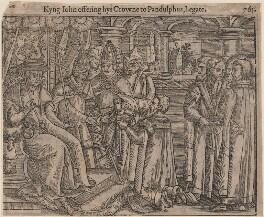 'Kyng John offering hys Crowne to Pandulphus, Legate', after Unknown artist - NPG D33888