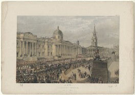 'Trafalgar Square, March 7th 1863' (including King Edward VII; Queen Alexandra), by Robert Charles Dudley - NPG D33990