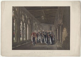 'The Dean's Cloister, Windsor, The Knights of the Garter, March 10th 1863', by Robert Charles Dudley - NPG D33996