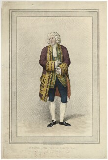 George Frederick Cooke as Sir Pertinax MacSycophant in Charles Macklin's 'Man of the World', by Richard Woodman, published by  John Cawthorn, after  Samuel De Wilde - NPG D34093