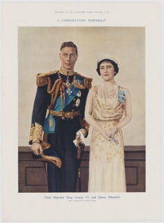 King George VI; Queen Elizabeth, the Queen Mother ('A Coronation Portrait'), published by Illustrated London News, after  Dorothy Wilding - NPG D34124