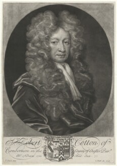 Sir Robert Cotton, 1st Bt, by John Smith, after  Thomas Gibson, 1706 - NPG D34164 - © National Portrait Gallery, London