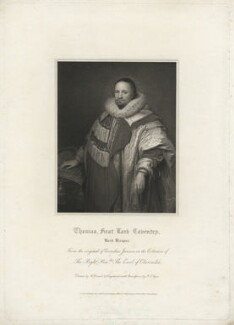 Thomas Coventry, 1st Baron Coventry, by John Samuel Agar, after  Harold Crease, after  Cornelius Johnson (Cornelius Janssen van Ceulen) - NPG D34188