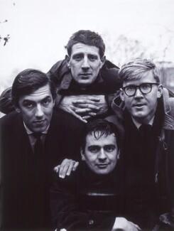 Peter Edward Cook; Jonathan Miller; Dudley Moore; Alan Bennett, by Lewis Morley, 1961 - NPG x32732 - © Lewis Morley Archive
