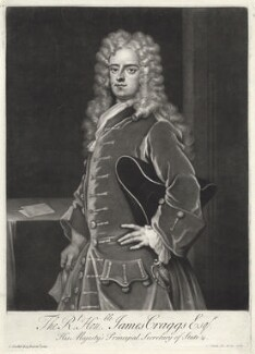 James Craggs the Younger, by John Simon, after  Sir Godfrey Kneller, Bt - NPG D34208