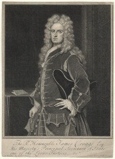 James Craggs the Younger, by George Vertue, after  Sir Godfrey Kneller, Bt - NPG D34209