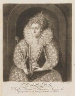 Queen Elizabeth I, by Richard Houston, after  Isaac Oliver - NPG D9363