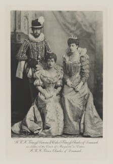 Haakon VII, King of Norway when Prince Charles of Denmark with Maud, Queen of Norway when Princess Charles of Denmark and Princess Victoria of Wales as Ladies of the Court of Marguerite de Valois, by Lafayette, photogravure by  Walker & Boutall - NPG Ax41007