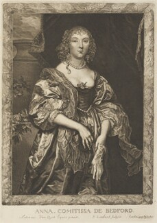 Anne Russell (née Carr), Countess of Bedford, by Pierre Lombart, after  Sir Anthony van Dyck - NPG D34298