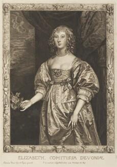 Elizabeth Cavendish (née Cecil), Countess of Devonshire, by Pierre Lombart, after  Sir Anthony van Dyck - NPG D34300