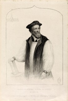 Nicholas Ridley, by Henry Bryan Hall, published by  C. Birch, after  James Warren Childe - NPG D34328