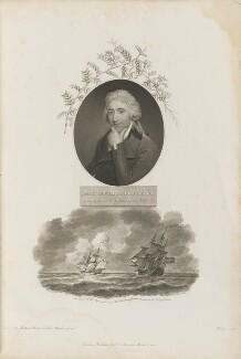 Sir James Edward Smith with 'The Pursuit of the Shop containing the Linnaean Collection', by William Ridley, published by  Robert John Thornton, after  John Russell - NPG D34334