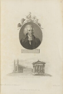 Thomas Martyn with 'View of King's College Chapel, the Public Library and Senate House', by Giovanni Vendramini, published by  Robert John Thornton, after  John Russell - NPG D34336