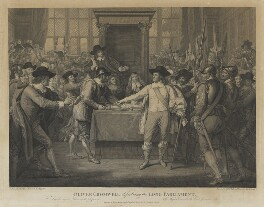 Oliver Cromwell dissolving the Long Parliament, by John Hall, after  Benjamin West - NPG D34360