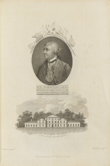 Sir John Hill with 'A View of the Royal Palace in Kew Gardens', by Giovanni Vendramini, published by  Robert John Thornton, after  Francis Cotes - NPG D34343