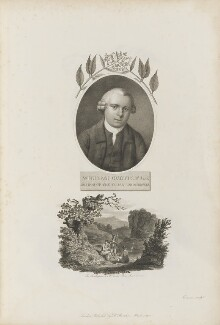 William Curtis with 'The Frontispiece to Mr Curtis' Flora Londinensis', by William Evans, published by  Robert John Thornton - NPG D34348