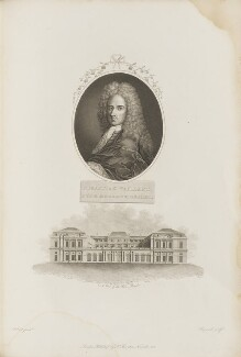 Sébastien Vaillant with 'A View of the Palais Royale', by James Hopwood Sr, after  Aubnet, and probably by  John Roffe, after  Surant, published by  Robert John Thornton - NPG D34357