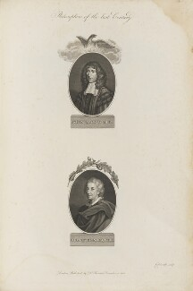 'Philosophers of the last Century' (John Mayow; John Evelyn), by James Caldwall, published by  Robert John Thornton - NPG D34358