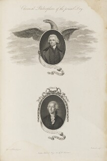 'Chemical Philosophers of the present Day' (Joseph Priestley; Antoine Lavoisier), by James Caldwall, after  John Opie, and after  Jacques Louis David, published by  Robert John Thornton - NPG D34359