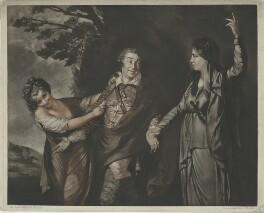 David Garrick ('Garrick between Comedy and Tragedy'), by Edward Fisher, after  Sir Joshua Reynolds - NPG D34376