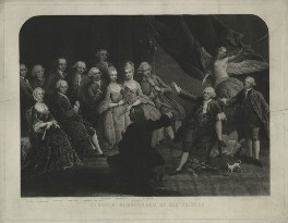 Garrick surrounded by his friends, by George Salisbury Shury, published by  A.J. Isaacs, after  William Hogarth, published 20 August 1866 - NPG D34380 - © National Portrait Gallery, London