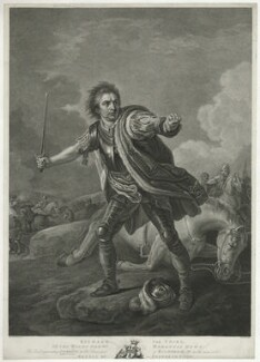 David Garrick ('Richard the Third'), by William Bromley, after  John Boultbee, after  Francis Hayman - NPG D34387