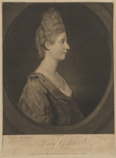 Maria Marowe (née Wilmot), Lady Eardley of Spalding when Lady Gideon, by Thomas Watson, published by  Robert Sayer, after  Sir Joshua Reynolds - NPG D34466