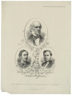 Herbert John Gladstone, 1st Viscount Gladstone; William Ewart Gladstone; William Henry Gladstone, printed by M & N Hanhart, published by  Beynon & Company, after  Bassano Ltd, after  Elliott & Fry - NPG D34523