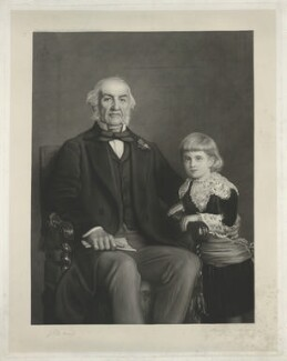 William Ewart Gladstone; William Glynne Charles Gladstone, by Daniel Albert Wehrschmidt (Veresmith), published by  Thomas Agnew & Sons Ltd, after  Sir John Everett Millais, 1st Bt - NPG D34524