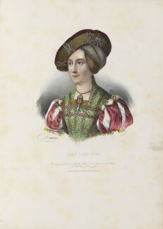 Anne, Queen of Hungary wrongly identified as Lady Jane Grey, by Antoine Maurin, printed by  François Le Villain, published by  Edward Bull, published by  Edward Churton, after  Hans Maler - NPG D34620