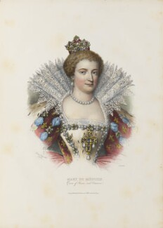 Marie de Medici of France, by Jozef Symon Kurowski, printed by  François Le Villain, published by  Edward Bull, published by  Edward Churton, after  Unknown artist - NPG D34626