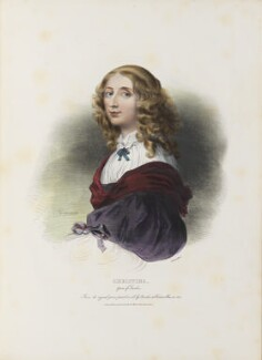 Christina, Queen of Sweden, by Achille Devéria, printed by  François Le Villain, published by  Edward Bull, published by  Edward Churton, after  Sébastien Bourdon - NPG D34628