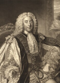 Thomas Pelham-Holles, 1st Duke of Newcastle-under-Lyne, by James Macardell, after  William Hoare - NPG D9400