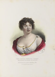 Anne Louise Germaine (née Necker), Madame de Staël-Hollstein, by Antoine Maurin, printed by  François Le Villain, published by  Edward Bull, published by  Edward Churton, after  Elisabeth-Louise Vigée-Le Brun - NPG D34622